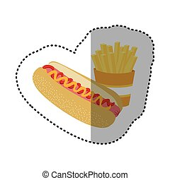 hot dog and fries french icon