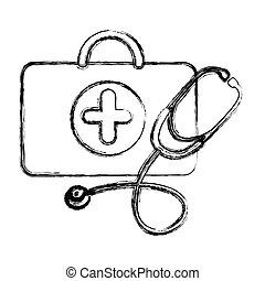 profile suitcase health with stethoscope icon