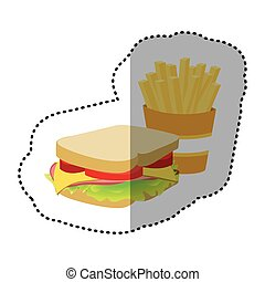 sandwich with fries french icon