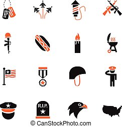 memorial day icon set - memorial day web icons for user...