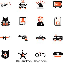 police icon set - police web icons for user interface design