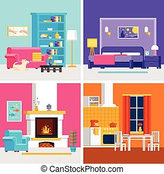 Four colorful flat rooms vector illustrations to infographic...