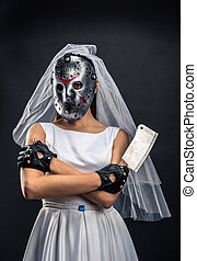 Bride in hockey mask with meat cleaver. Serial murederer in...