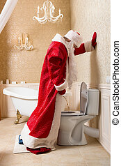 Funny drunk Santa Claus peeing in the toilet - Funny drunk...