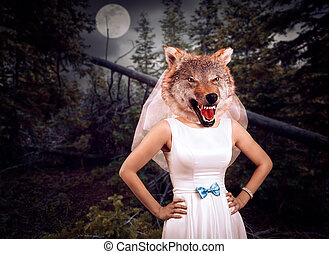 Bride with wolf head in the night wood against the moon
