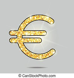 golden euro sign - shiny golden sign of a currency euro with...