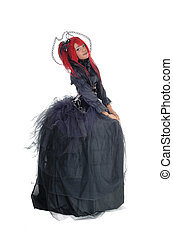 African woman standing in Victorian dress. - A young...
