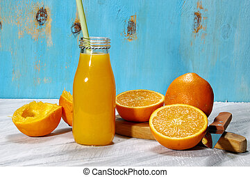A bottle of orange juice