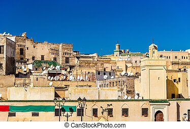 View of Fes Medina from Rcif Square, Morocco - View of...