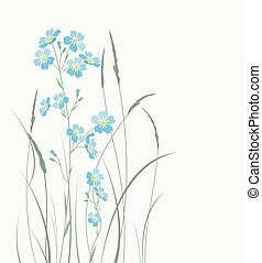 Vector blue forget me not flowers - Vector illustration blue...