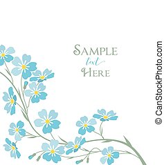 Vector blue forget me not flowers - Vector illustration blue...