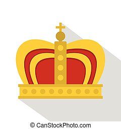 Monarchy crown icon, flat style - Monarchy crown icon. Flat...