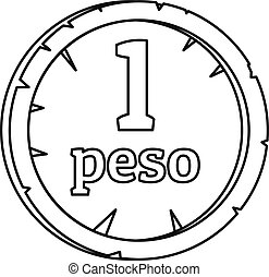 Peso icon, outline style - Peso icon. Outline illustration...