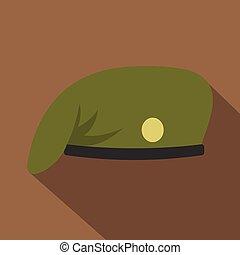 Military cap icon, flat style