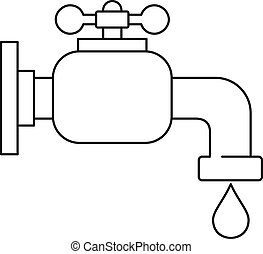 Water tap icon, outline style - Water tap icon. Outline...