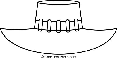 Woman hat icon, outline style - Woman hat icon. Outline...