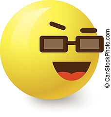 Cool smiley icon, cartoon style