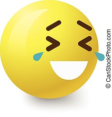 Laughing to tears smiley icon, cartoon style - Laughing to...