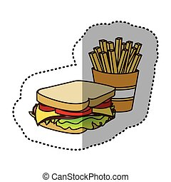 color sandwich with fries french icon