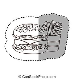 figure hamburger and fries french icon