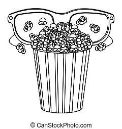 pop corn with 3d glasses icon
