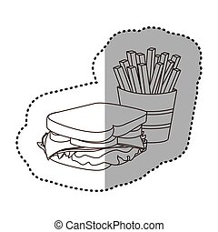 figure sandwich with fries french icon