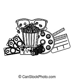 pop corn, 3d glasses, clapper board and money