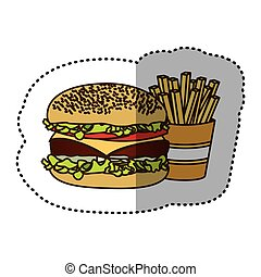 color hamburger and fries french icon