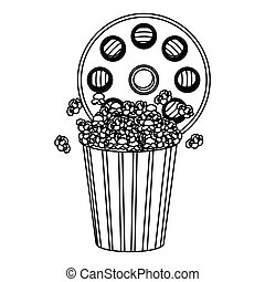 movie film clipart with pop corn icon, vector illustraction...