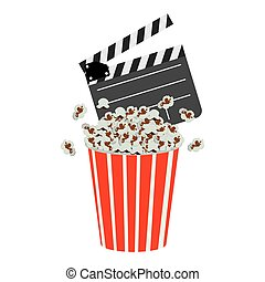 color clapper board and pop corn icon