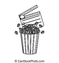 clapper board and pop corn icon