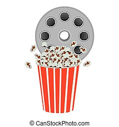 color movie film clipart with pop corn icon, vector...