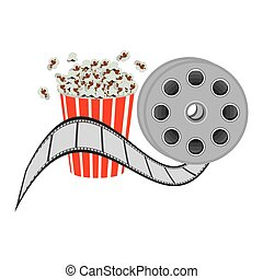 color pop corn with film production icon