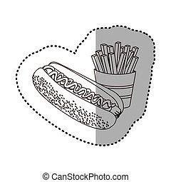 figure hot dog and fries french icon