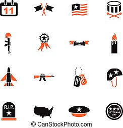 veterans day icon set - veterans day web icons for user...
