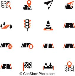 road icon set - road web icons for user interface design