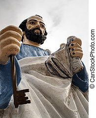 Saint Peter image - Ancient fishermen image, at public way...
