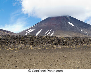 Active volcano cone Mount Ngauruhoe New Zealand - Active...