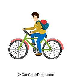 Student riding a bicycle vector illustration.