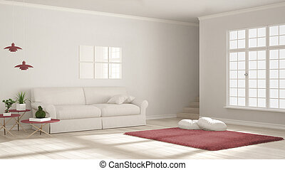 Minimalist simple clear living, white and red, scandinavian classic interior design