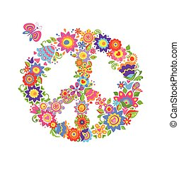 Colorful print with peace flower symbol