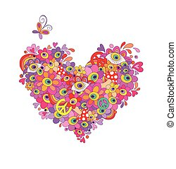 Psychedelic hippie heart shape with colorful abstract...