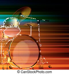 abstract grunge background with drum kit - abstract blur...