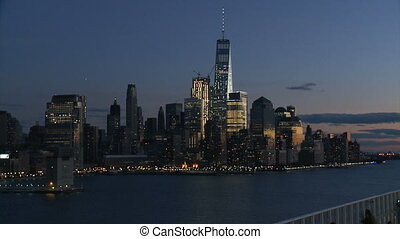 View of Lower Manhattan at night,two shots-USA-New York-July