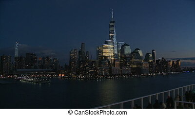 View of Lower Manhattan at night-USA-New York-july.