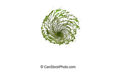 Green Liquid tornado. Beautiful colored juice of whirl. Isolated transparent vortex of liquid like whirlwind 3d animation with alpha matte. Version 5