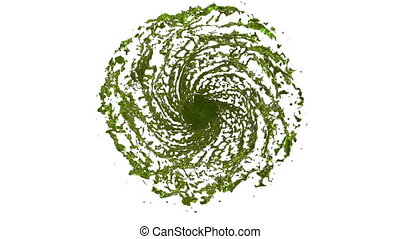 Green Liquid tornado. Beautiful colored juice of whirl....