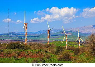 The Golan heights and some windmills - Israel. The...