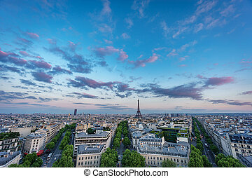 Skyline of Paris with Champs-Elysees and Eiffel tower at...