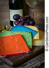 Colorful cheese mix and grapes. - Colorful cheese mix and...